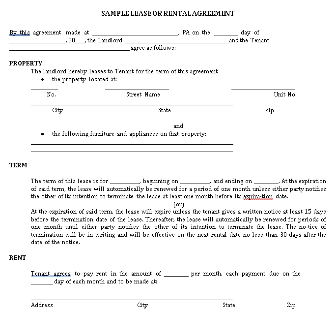 Private Lease Agreement Template 1