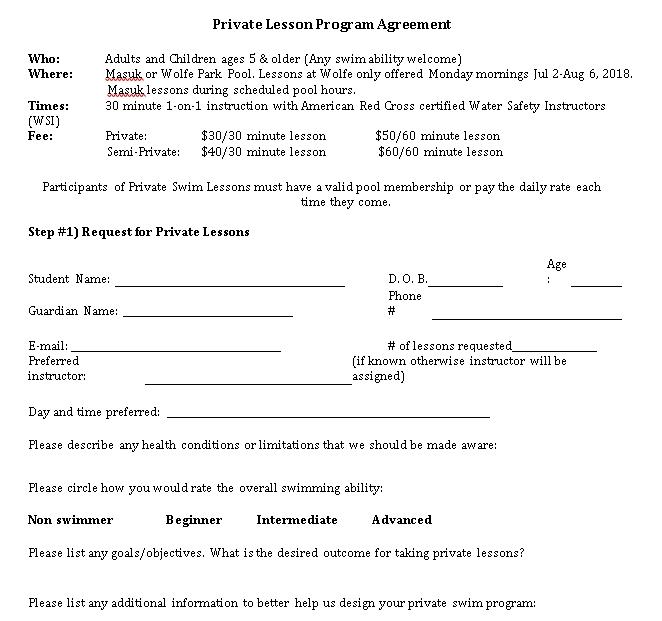 Private Lesson Program Agreement