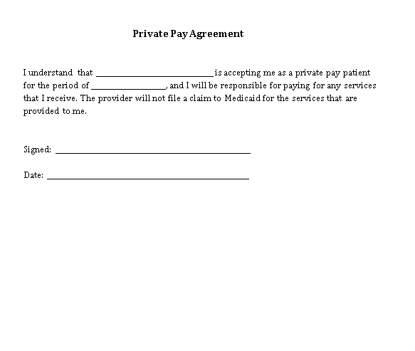 Private Pay Agreement