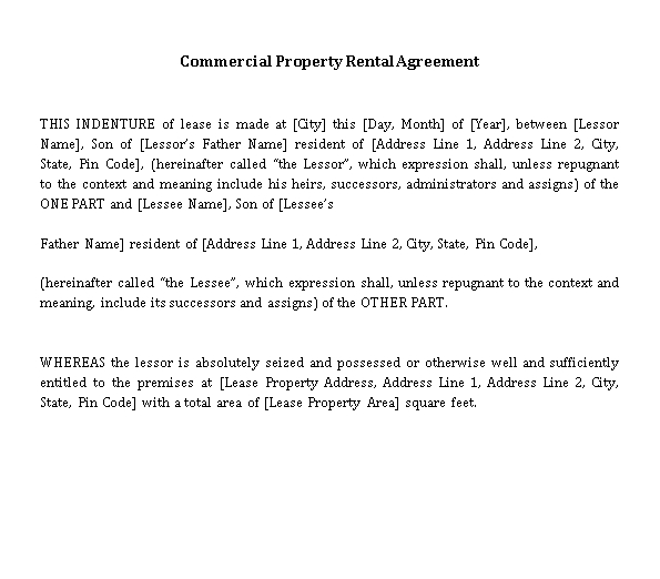 Private Property Lease Agreement Template 1