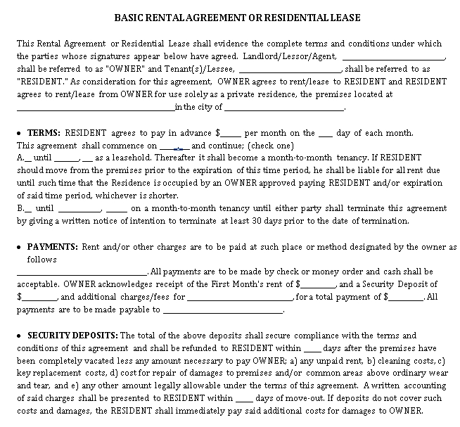 Private Rental Lease Agreement Template 1