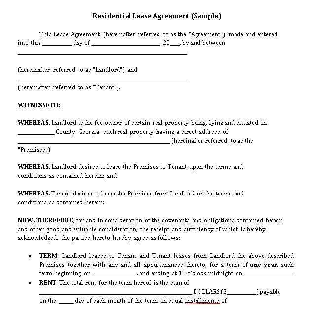 Private Residential Lease Agreement Template 1