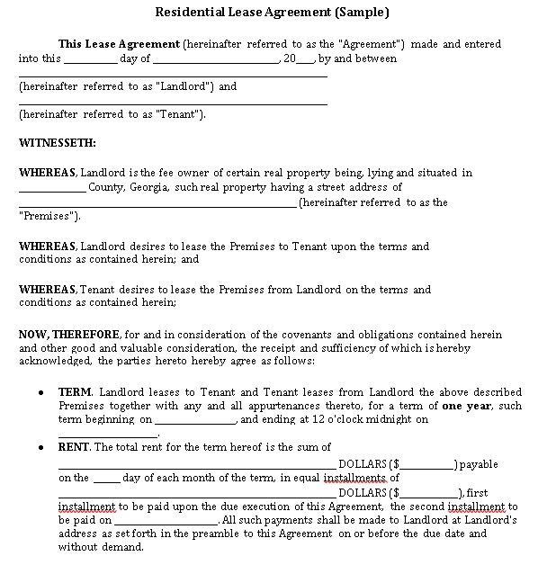 Private Residential Lease Agreement Template