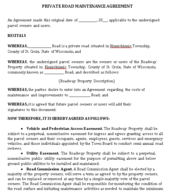 Private Road Maintenance Agreement