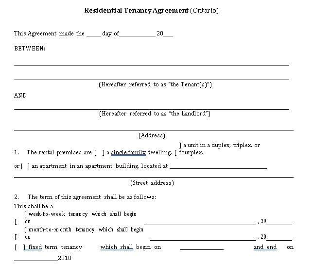 Private Tenant Lease Agreement Template 1