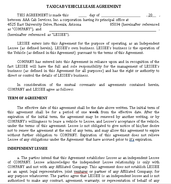 Private Vehicle Lease Agreement Template 1