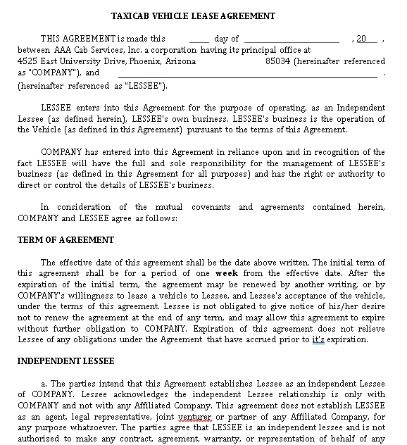 Private Vehicle Lease Agreement Template