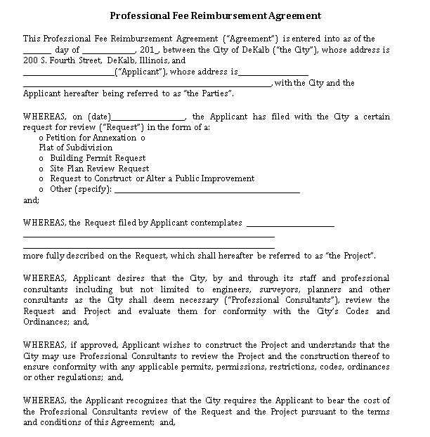 Professional Fee Reimbursement Agreement