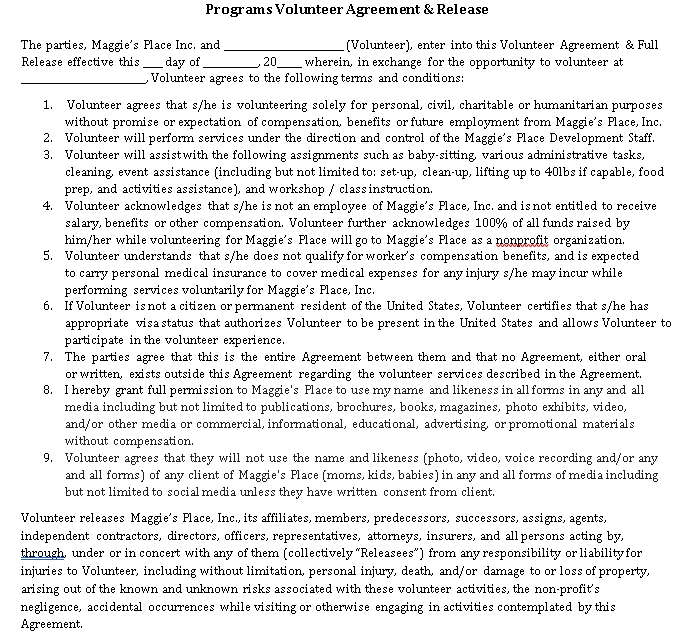 Programes Volunteer Agreement