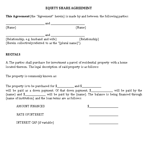 Property Equity Share Agreement Template