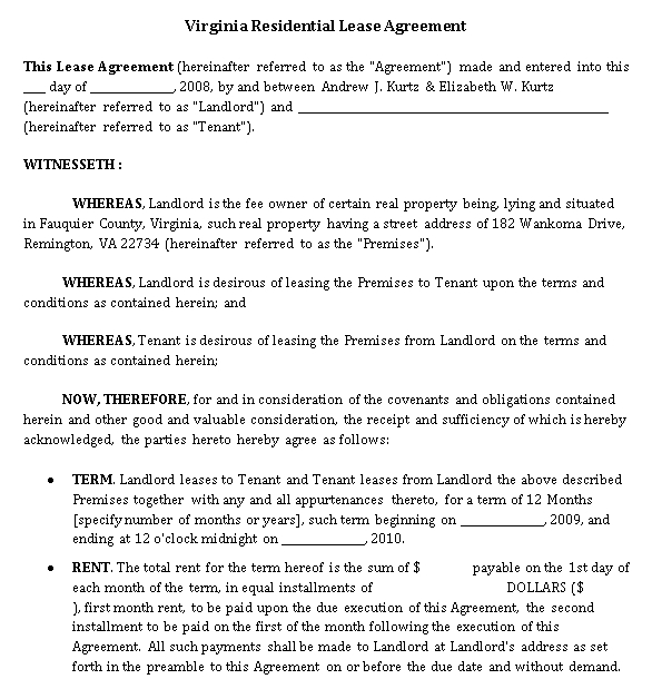Property Lease Agreement Template 2