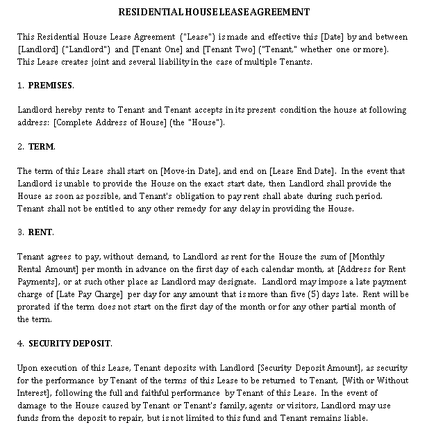 Property Lease Agreement Template 4
