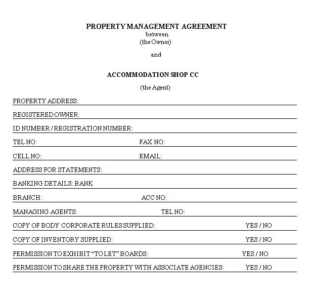 Property Management Agreement Long Term