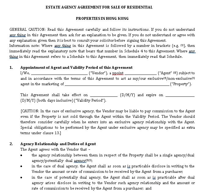 Real Estate Agency Agreement Selling Properties
