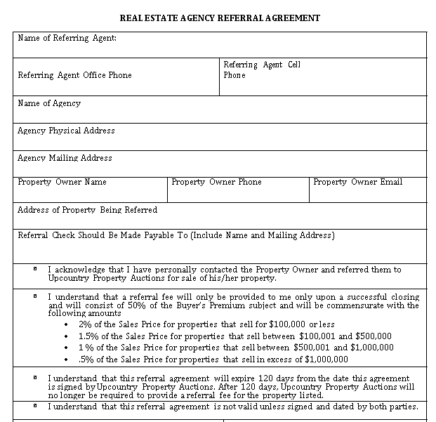 Real Estate Agency Referral Agreement
