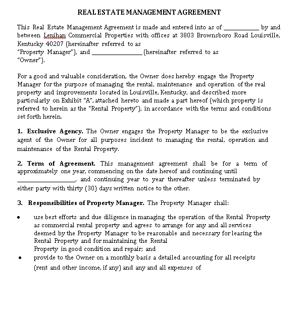 Real Estate Management Agreement Example