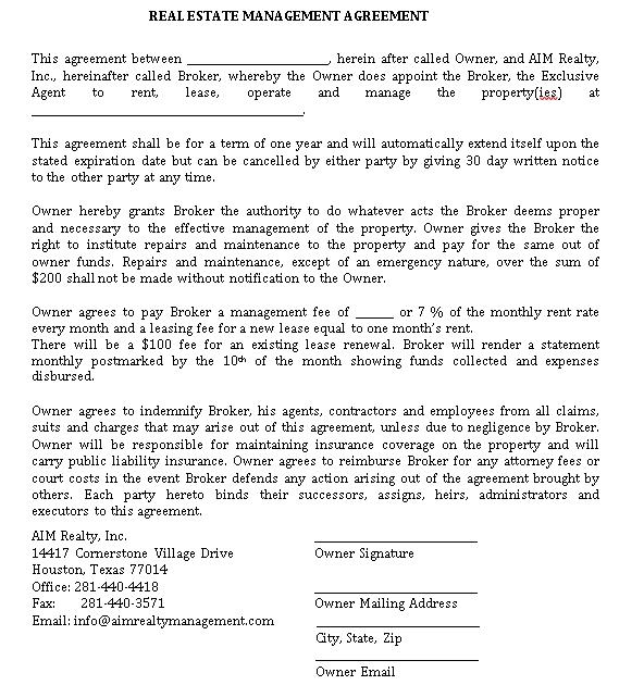 Real Estate Management Agreement