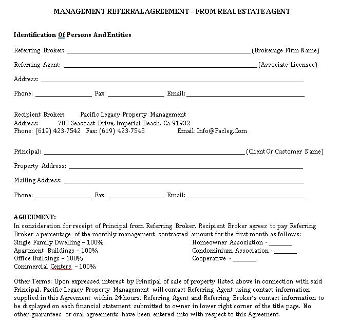 Real Estate Management Referral Agreement