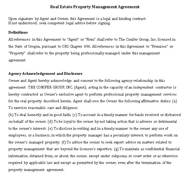 Real Estate Property Management Agreement