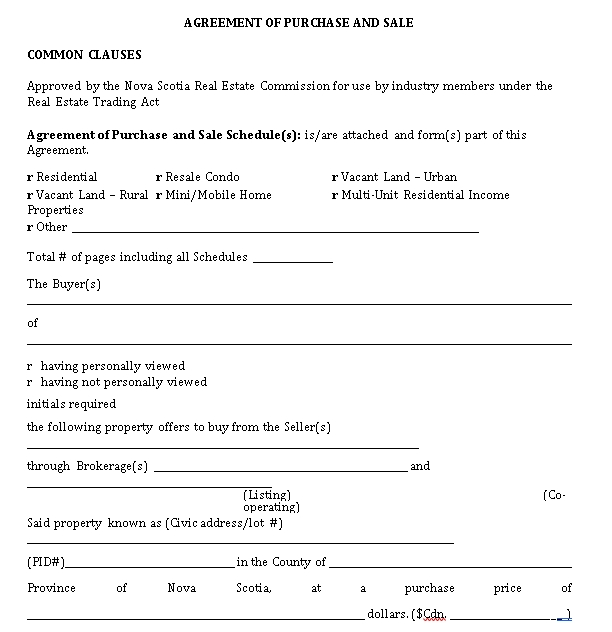 Real Estate Purchase Sale Agreement Format