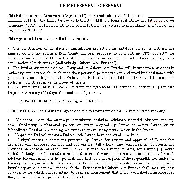 Reimbursement Agreement in PDF