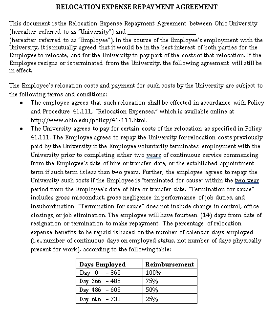 Relocation Agreement Template 1