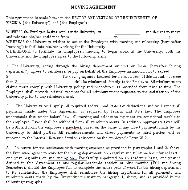 Relocation Agreement Template 3