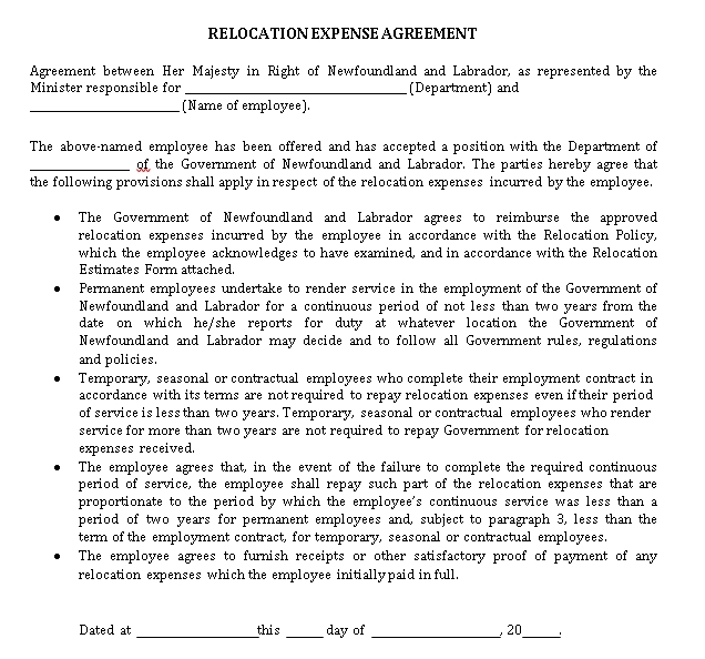 Relocation Agreement Template 5