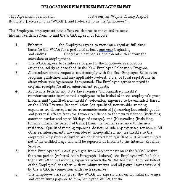 Relocation Agreement Template 7