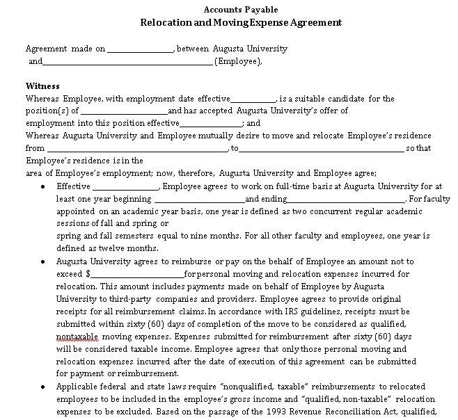 Relocation Agreement Template 8