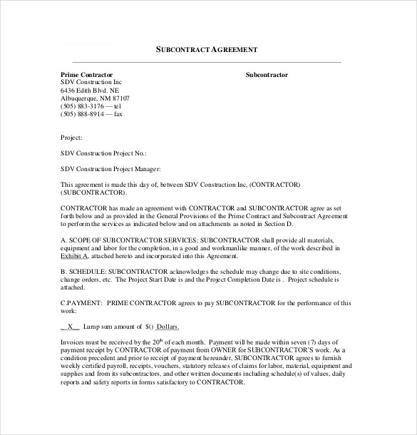 Remodeling Subcontract Agreement form