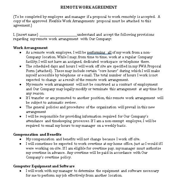 Remote Work Agreement Template
