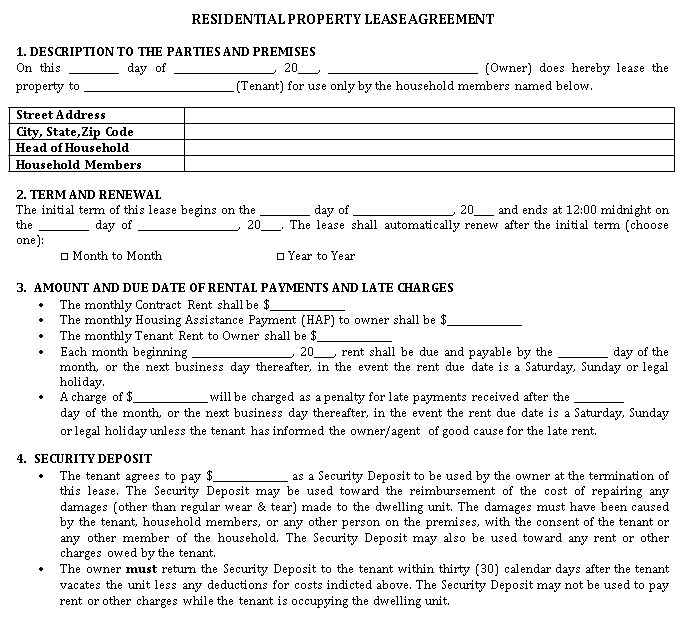 Residential Property Lease Agreement