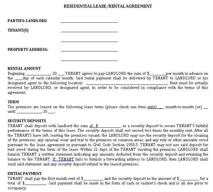 Residential Rental Lease Agreement