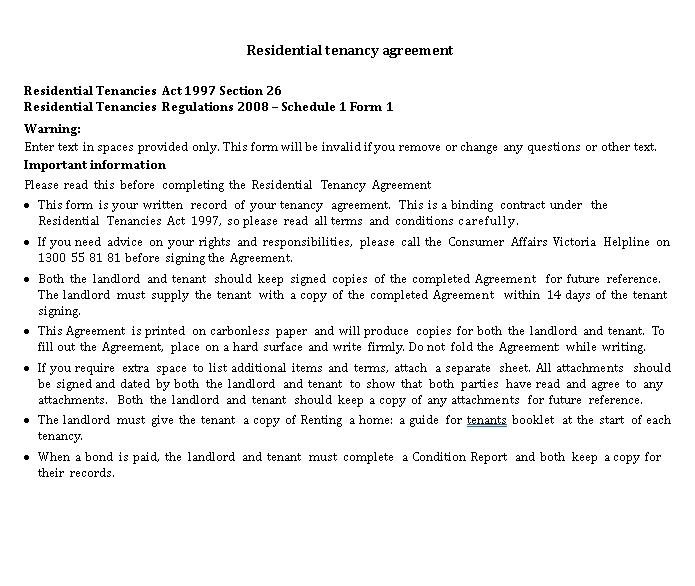 Residential Tenancy Short Term Agreement