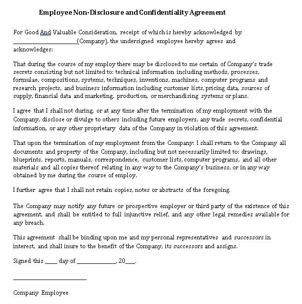 Restaurant Employee Non Disclosure Agreement Template