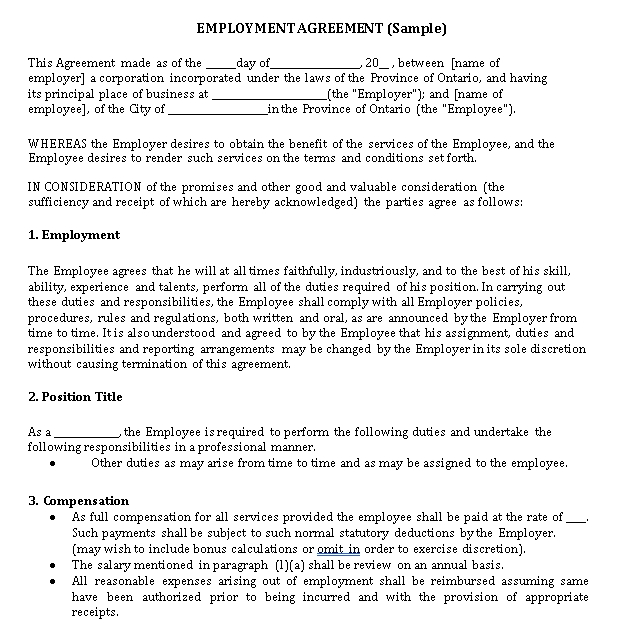 Restaurant Employment Contract with Non Compete Agreement Template