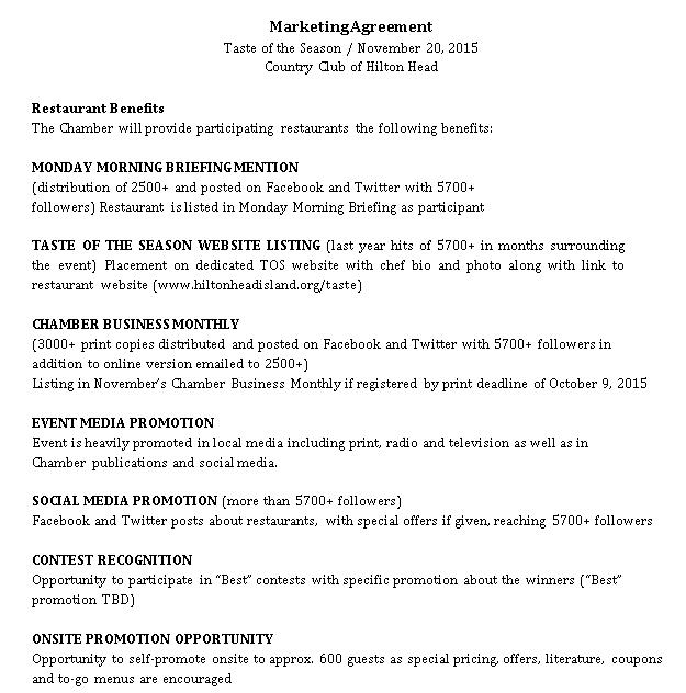 Restaurant Marketing Agreement Format