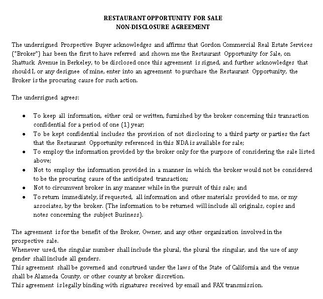 Restaurant Sale Non Disclosure Agreement Template