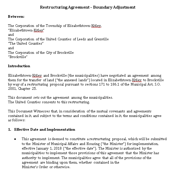 Restructuring Agreement Example