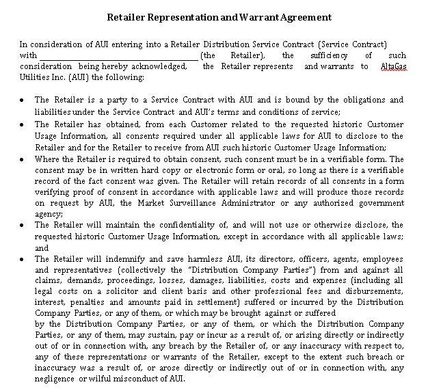 Retailer Representation and Warrant Agreement