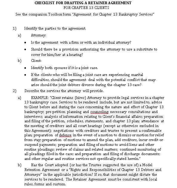 Retention Agreement Checklist