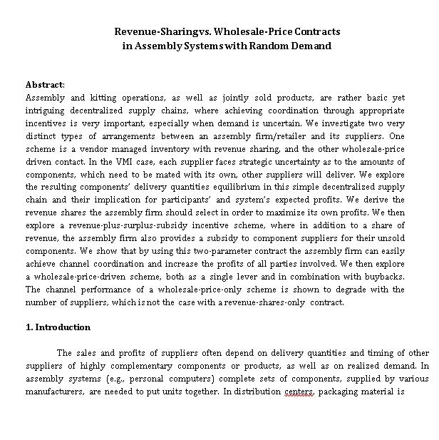 Revenue Sharing vs Wholesale Price Contracts