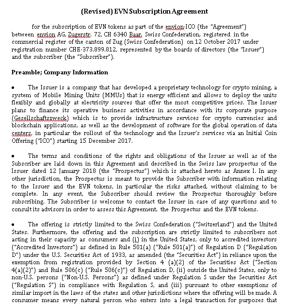 Revised Subscription Agreement