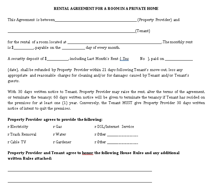 Room Rental Agreement in Private Home
