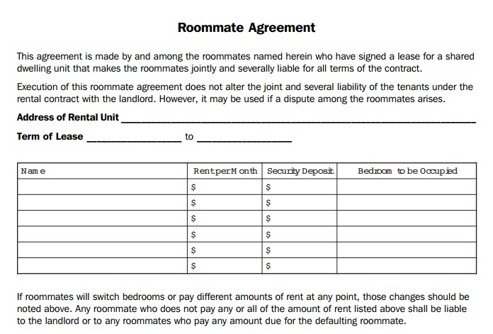 Roommate Agreement Format
