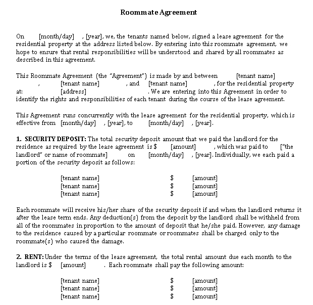 Roommate Rent Agreement Letter Template