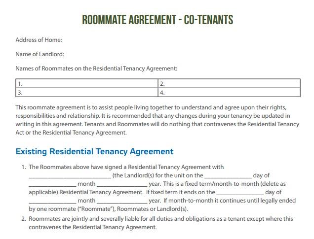 RoommateAgreement Co tenants