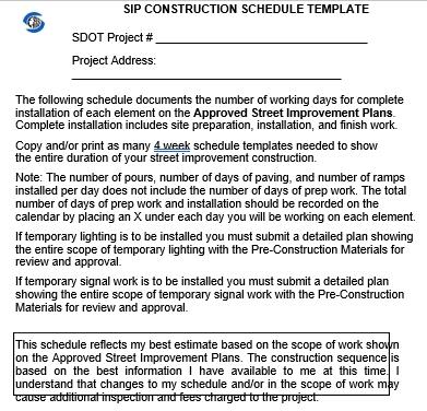SIP Construction Schedule Format