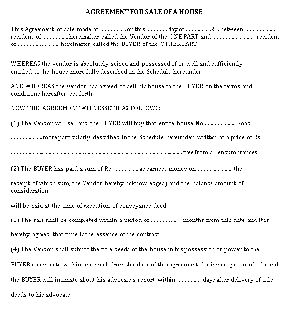 Sale of House Agreement Template